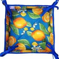 Vide poches en tissu, imprimé provençal Citron bleu
