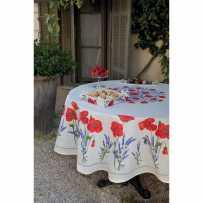 Nappe ronde en coton, imprimé provençal Coquelicots et lavandes blanc