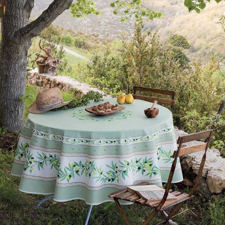 Nappe ronde en coton, imprimé provençal Ramatuelle