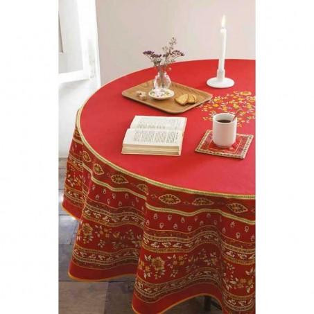 Nappe ronde en coton, imprimé provençal Avignon rouge