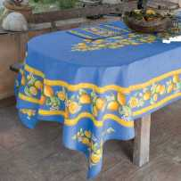 Outdoor tablecloth oval table, Citrons print