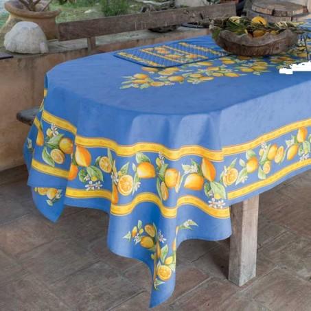 Nappe rectangle motif placé en coton, imprimé Citron
