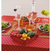 Nappe carrée en coton imprimé Avignon allover rouge