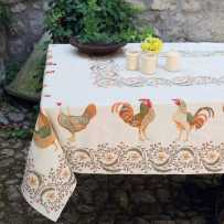 Rooster tablecloth in woven Jacquard