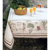Square table cover Jacquard woven Gordes