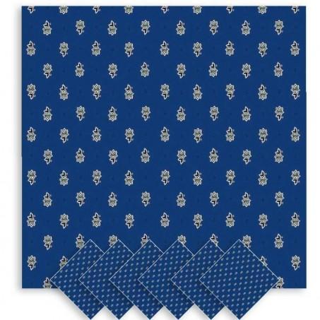 Serviettes de table carrées, imprimé Avignon bleu