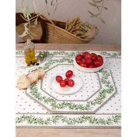 Sets de table octogonal matelassé, imprimé Calissons Olivettes blanc