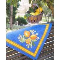 Serviettes de table carrées, imprimé Citron bleu