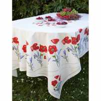 Fitted tablecloths oval, Coquelicots et lavandes print white