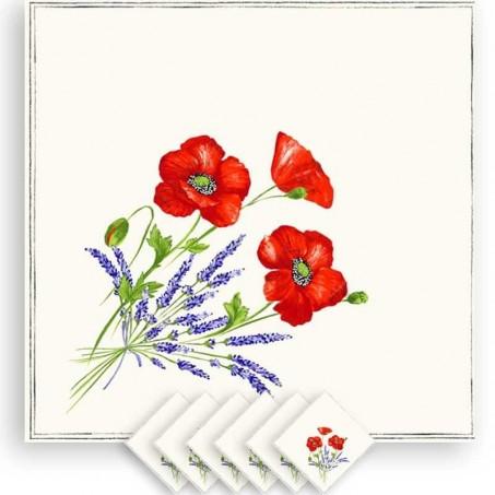 Floral napkins, cotton printed Coquelicots Lavandes white