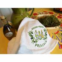 Kitchen hand towels (x2), embroidery Huile d'olive