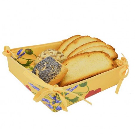 Corbeille à pain provençal en tissu Coquelicots lavande