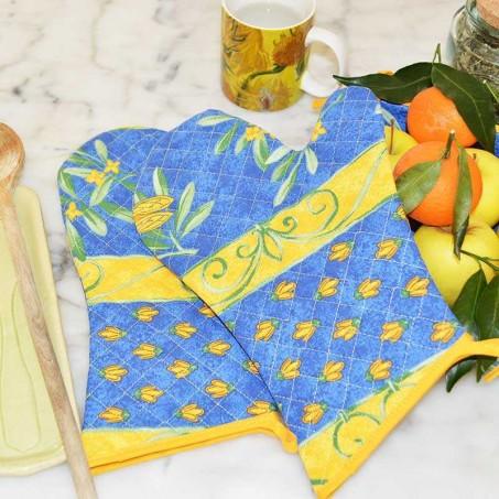 Gants de cuisine matelassé, imprimé Cigale bleu