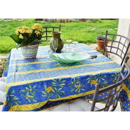 Nappe enduite carrée bleu imprimé Cigales rayure en scène