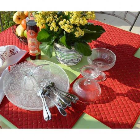 Sets de table matelassé, imprimé Calissons rouge