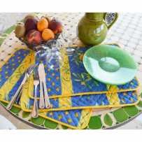 rectangular table placemats print Cigales color blue