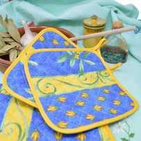 manique de cuisine bleu imprimé cigale