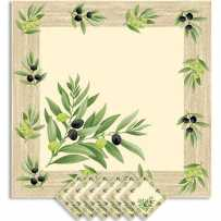 Table napkins printed ecru with olives