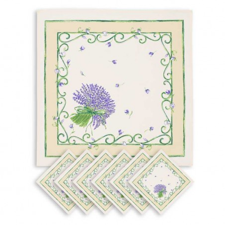 Serviettes de table carrées, imprimé Bouquet de lavandes blanc