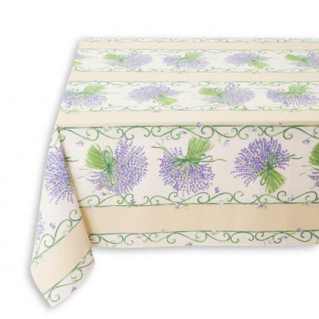 Rectangular stain resistant tablecloth, Bouquet de lavande white