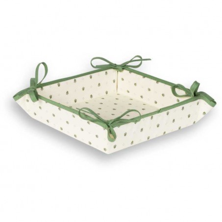 Bread Basket cotton printed Calissons white green