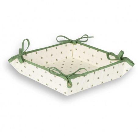 Corbeille à pain Calissons imprimé provençal en tissu blanc vert