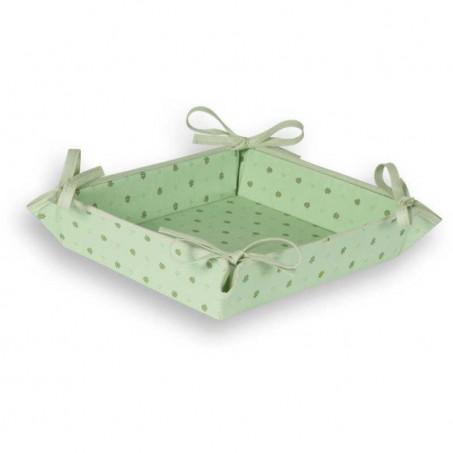 Corbeille à pain Calissons imprimé provençal en tissu vert beige