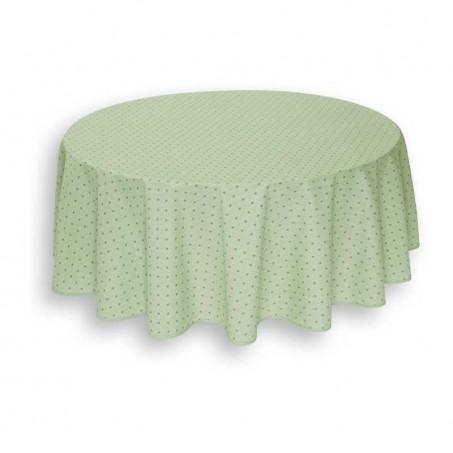 Nappe ronde en coton, imprimé provençal Calisson vert beige