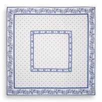 Tapis de table matelassé, imprimé provençal Calissons Fleurette blanc bleu