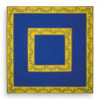 Fabric table mat printed Calissons Olivettes blue yellow