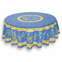 Nappe ronde bleu en coton, imprimé provençal Cigale