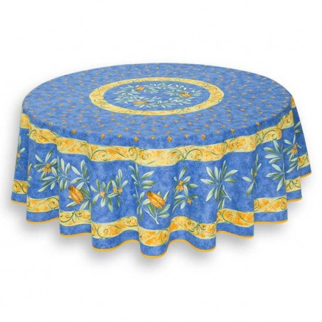 Blue tablecloth Provencal printed Cigales