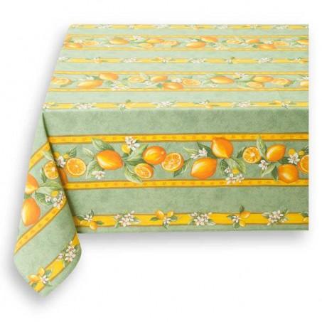 Nappe rectangulaire verte en coton, imprimé Citron