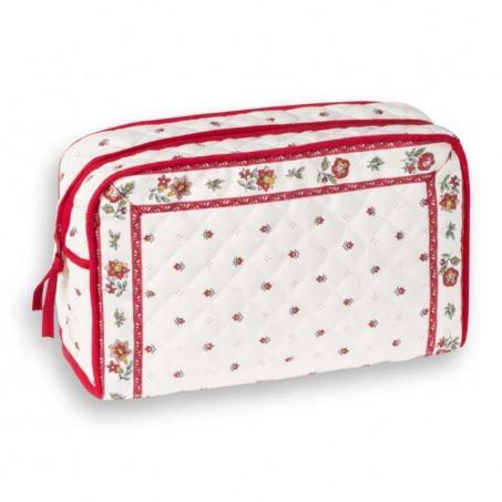 Trousse de toilette en tissu à motifs provençaux Calissons blanc rouge