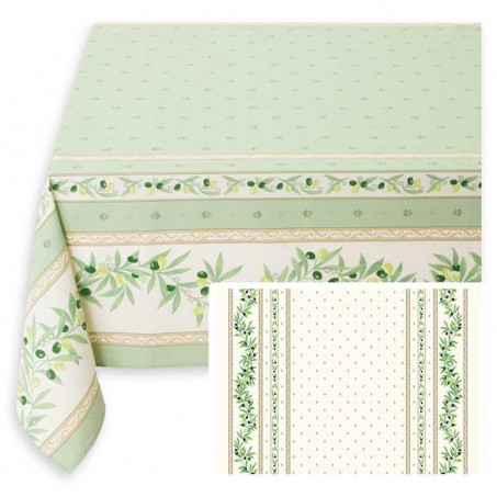 Small rectangle tablecloth, printed Ramatuelle white