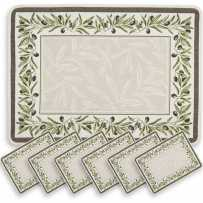 Woven placemats set Jacquard ecru green