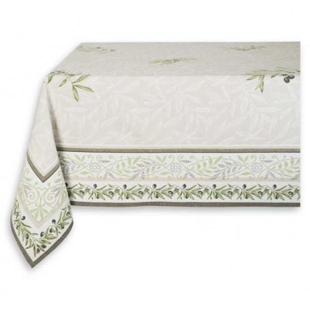 Rectangular tablecloth woven Jacquard ecru green