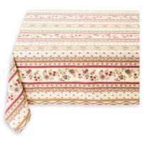Nappe carrée en coton imprimé Avignon rayure écru rouge