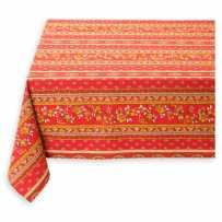 Nappe rectangulaire en coton, imprimé Avignon rayé rouge