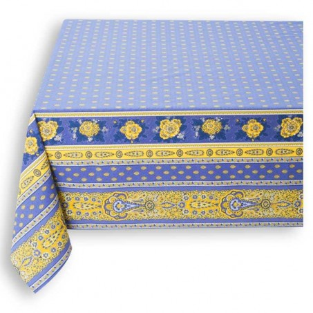 Nappe carrée en coton imprimé Bastide double rayure lavande