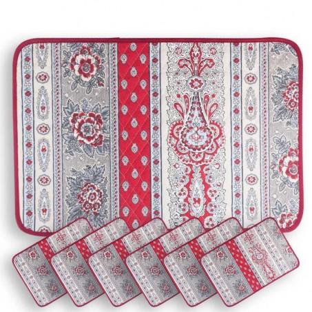 Sets de table rectangulaire matelassé, imprimé Bastide rouge
