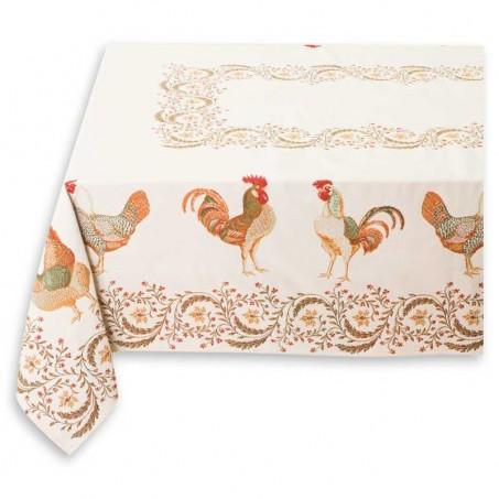 Rectangular tablecloth Jacquard woven Chanteclair white
