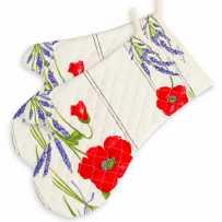 Gants de cuisine matelassé, imprimé Coquelicots Lavandes blanc