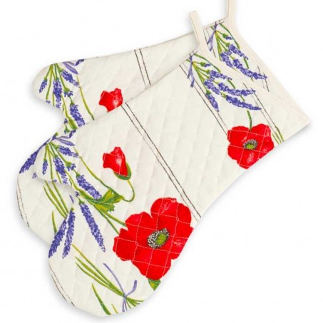 Oven mitts, cotton printed Coquelicots white