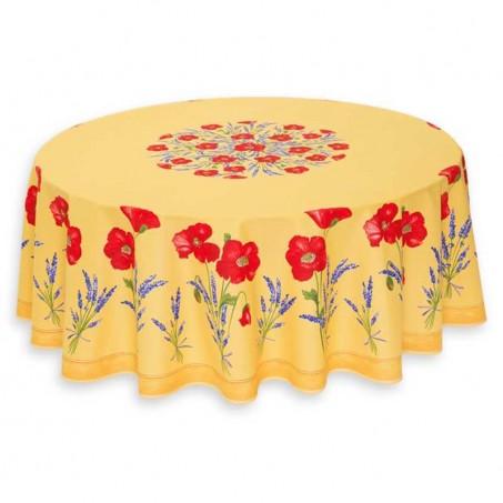 Nappe ronde en coton, imprimé provençal Coquelicots et lavandes jaune