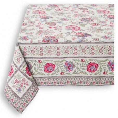 Rectangular tablecloth woven Jacquard Garance, Marat d'Avignon pink