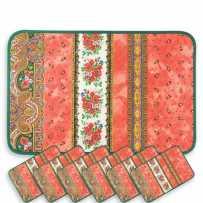 Sets de table rectangulaire matelassé, imprimé Tradition orange