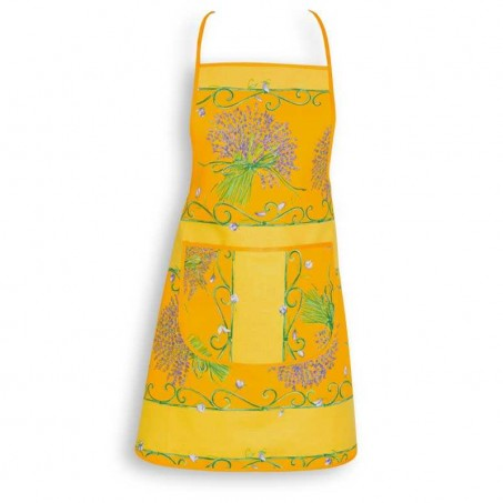 Floral apron printed Bouquet de lavande yellow color