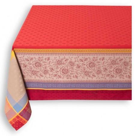 nappe de table carrée rouge tissu jacquard