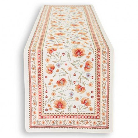 chemin de table orange tissu